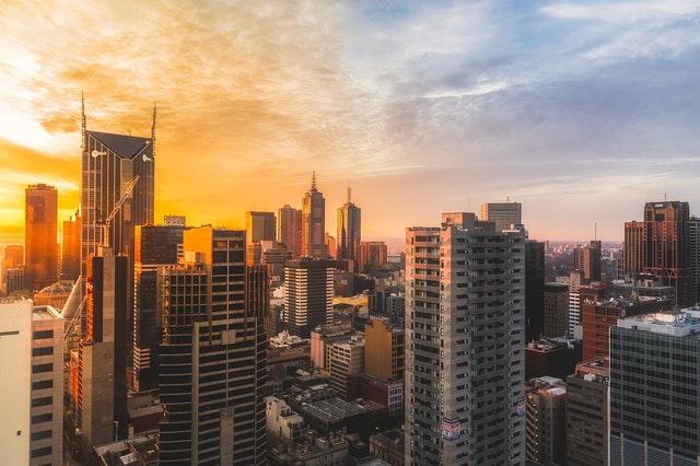 a sun lit financial district